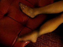 Amateur, Cumshot, Foot Fetish, Stockings