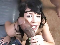 Babe, Brunette, Blowjob, Interracial